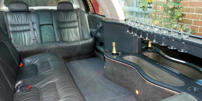 White Ford LTD Stretch Limo - Luxurious Interior